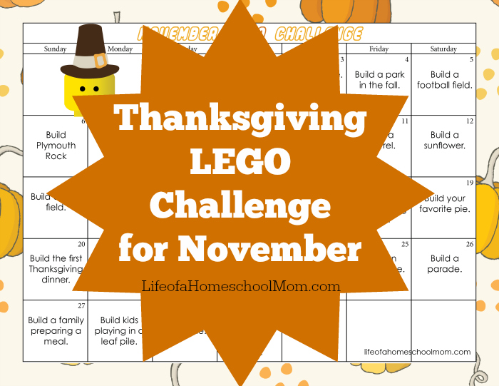 FREE DOWNLOAD: Thanksgiving-themed LEGO challenge for November!